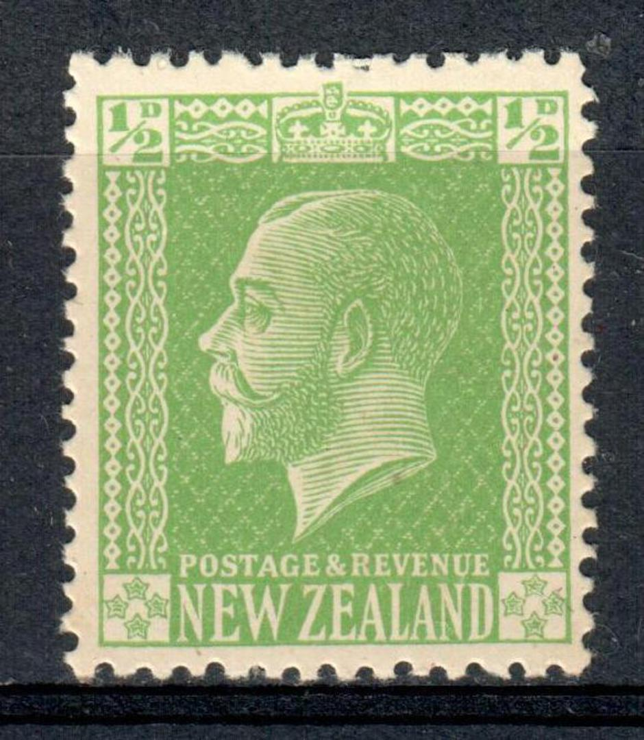 NEW ZEALAND 1915 Geo 5th Definitive ½d Green on Art Paper with colourless watermark on horizontal mesh. - 75177 - UHM image 0
