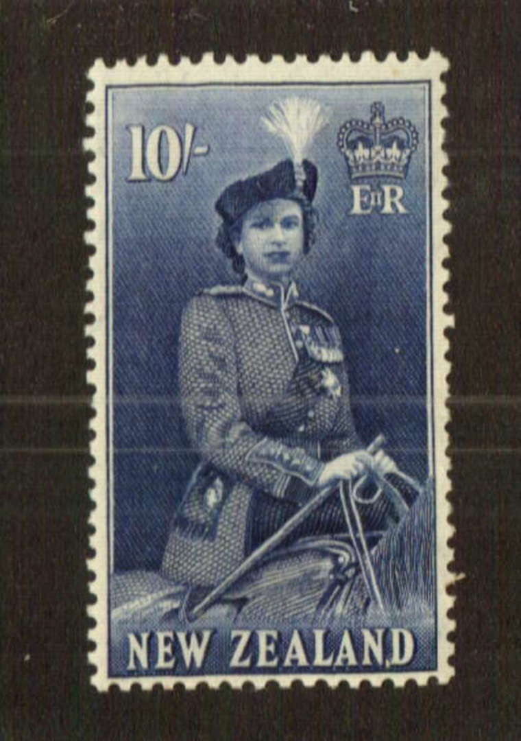 NEW ZEALAND 1953 Elizabeth 2nd Definitive 10/- Blue. Very lightly hinged. - 74759 - LHM image 0