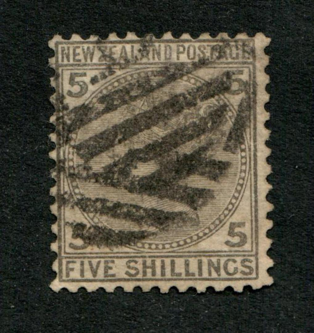 NEW ZEALAND 1874 Victoria 1st First Sideface 5/- Grey. Heavy but tidy postmark. - 75271 - Used image 0