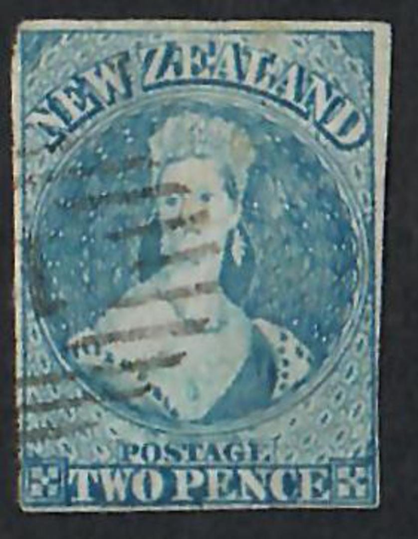 NEW ZEALAND 1855 Full Face Queen 2d Blue. Imperf. Davies print.  Four margin copy. Light postmark. Early plate wear. SG 38. - 60 image 0