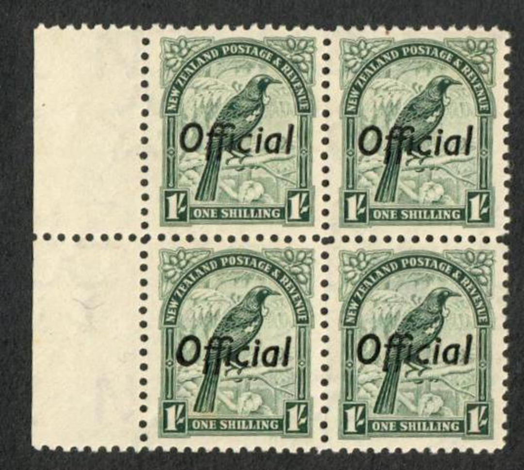 NEW ZEALAND 1935 Pictorial Official 1/- Tui. Perf 12½. Block of 4. - 75032 - UHM image 0