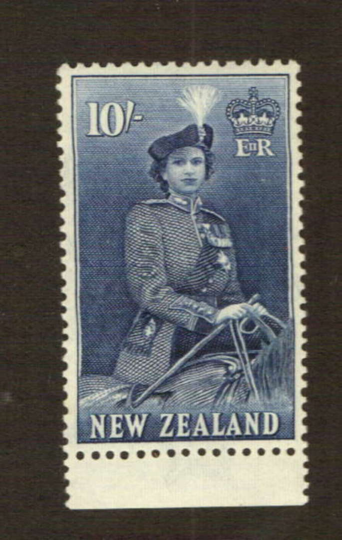 NEW ZEALAND 1953 Elizabeth 2nd Definitive 10/- Blue. The smallest possible disturbance to the gum by the hinge. Very extremely v image 0