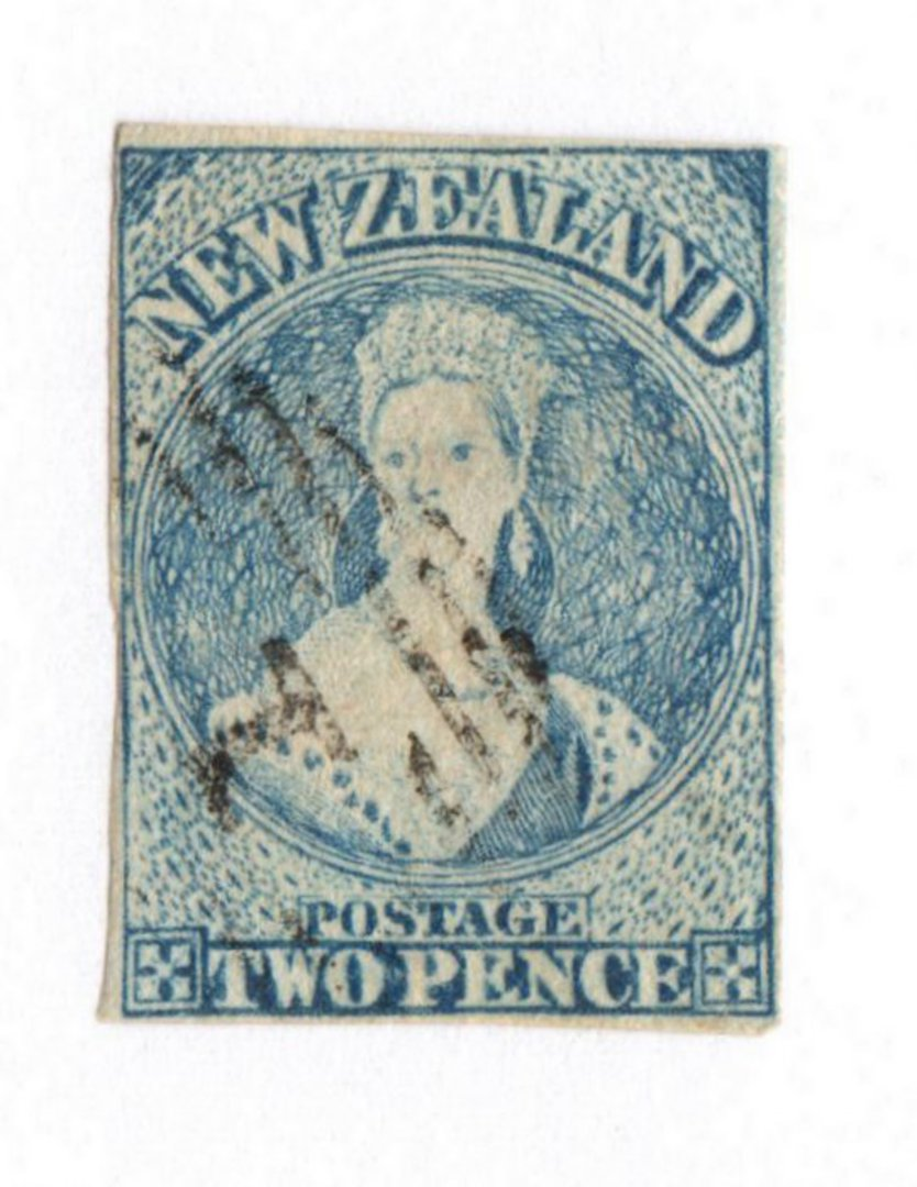 NEW ZEALAND 1855 Full Face Queen 2d Blue. Imperf. Four clear but close margins. Davies print. Plate 1. Advanced plate wear. Nice image 0