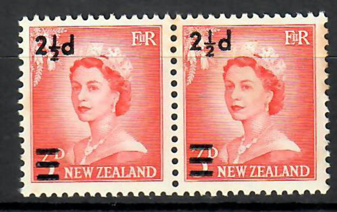 NEW ZEALAND 1961 Elizabeth 2nd Definitive 2½d surcharge on 3d Vermilion. Wide and narrow setting in joined pair. CP N42a & N42b image 0