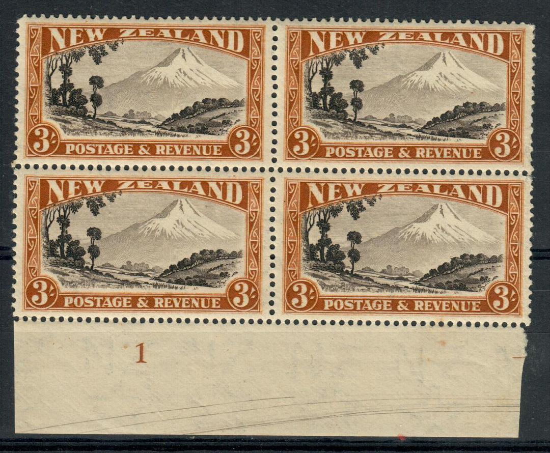 NEW ZEALAND 1935 Pictorial 3/- Egmont. Perf 13¾ x 13½. Multiple watermark. Plate 1. Block of 4. - 20666 - UHM image 0