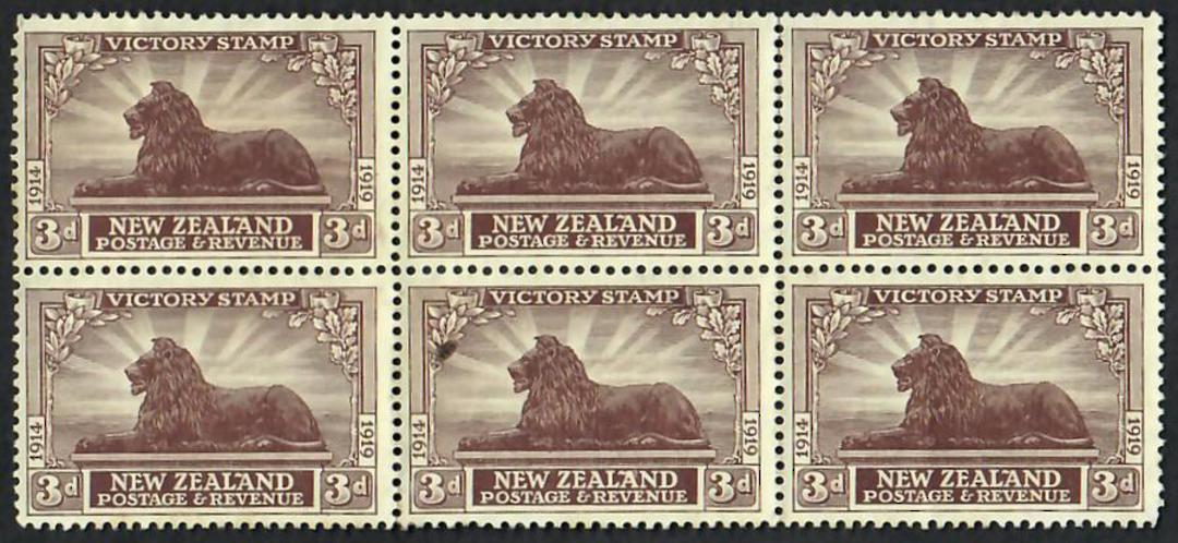 NEW ZEALAND 1920 Victory 3d Chocolate. Block of 6. - 21827 - MNG image 0