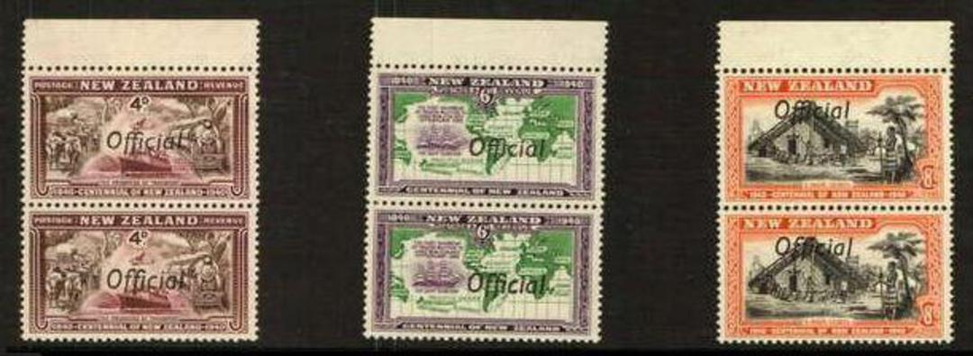 NEW ZEALAND 1940 Centennial Official ½d 1d 2d 3d 4d 6d 8d 2½d in pairs with Joined ffs. All never hinged except the 2½d. The 4d image 1