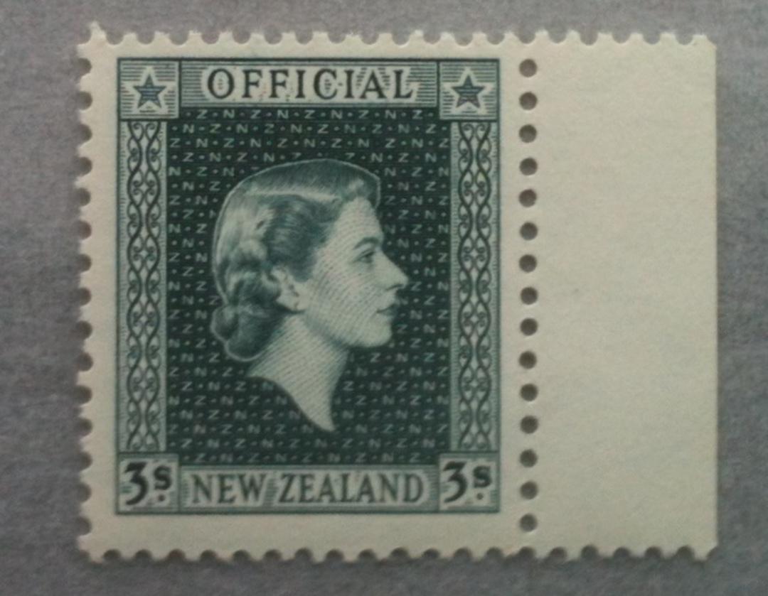 NEW ZEALAND 1954 Elizabeth 2nd Official 3/- Grey. - 307 - UHM image 0