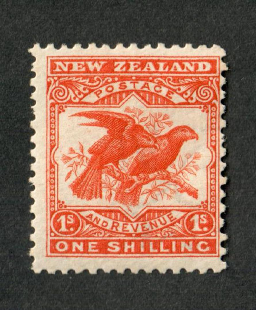 NEW ZEALAND 1898 Pictorial 1/- Orange. Redrawn. Hinged so lightly that you can hardly tell. - 39398 - LHM image 0