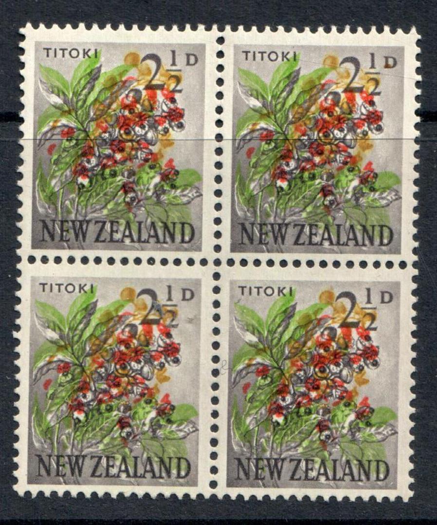 NEW ZEALAND 1960 Pistorial 2½d Titoki. Major red shift. Block of 4. - 74102 - UHM image 0