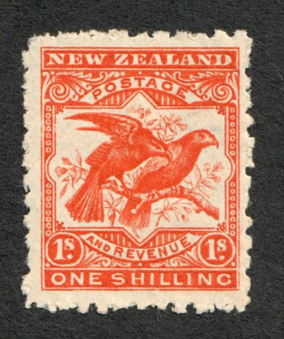 NEW ZEALAND 1898 Pictorial 1/- Bright Red. Second Local Issue on Cowan Watermarked Paper. Perf 11. Watermark Sideways Inverted. image 0