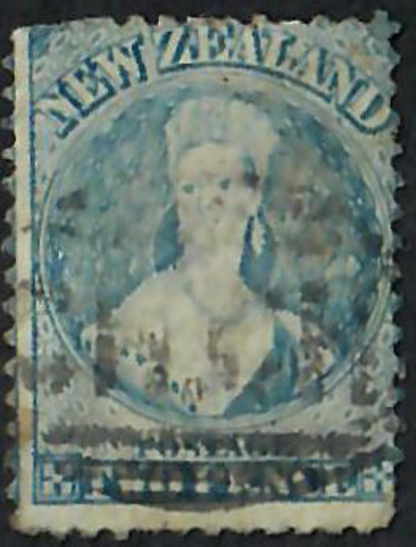 NEW ZEALAND 1862 Full Face Queen 2d Blue Perf 12½. Watermark NZ. Passable copy. - 60010 - Used image 0