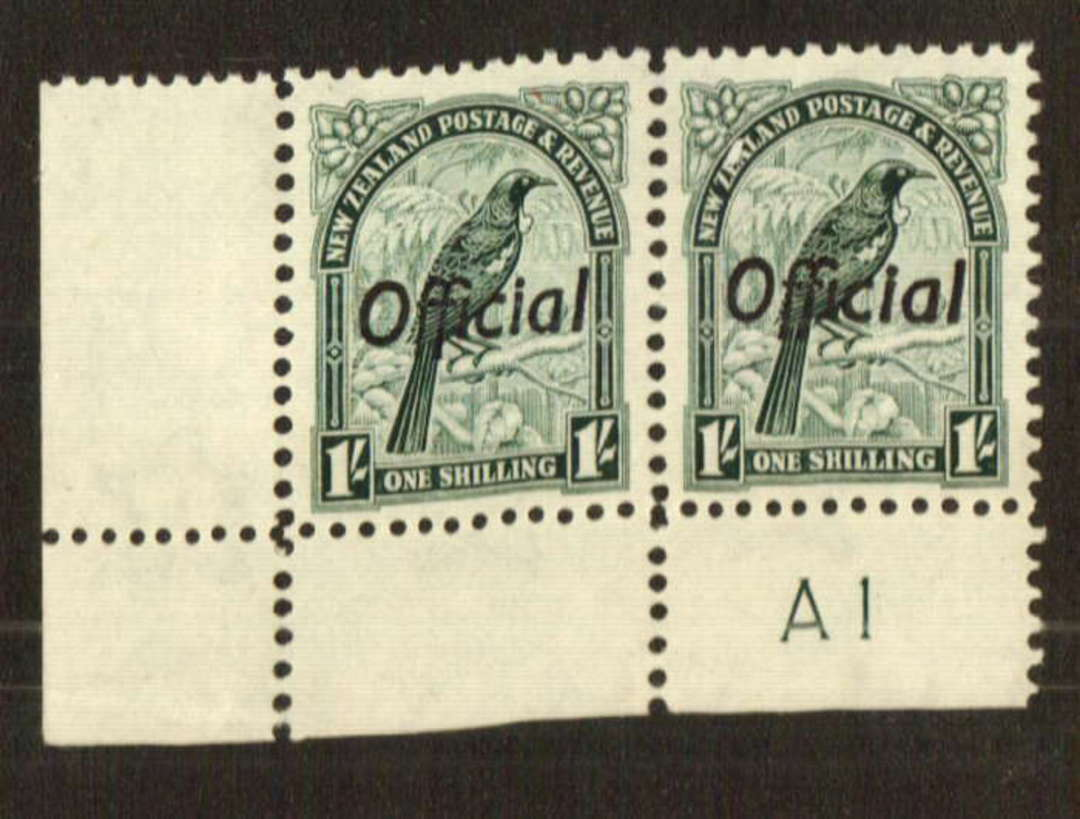 NEW ZEALAND 1935 Pictorial Official 1/- Tui. Corner pair. Plate A1. - 74763 - UHM image 0