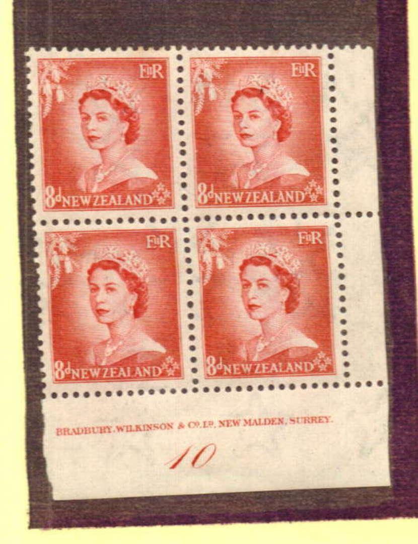 NEW ZEALAND 1954 Elizabeth 2nd Definitive 8d Rose-Carmine. Plate Block 10. Block of 4. - 74712 - UHM image 0