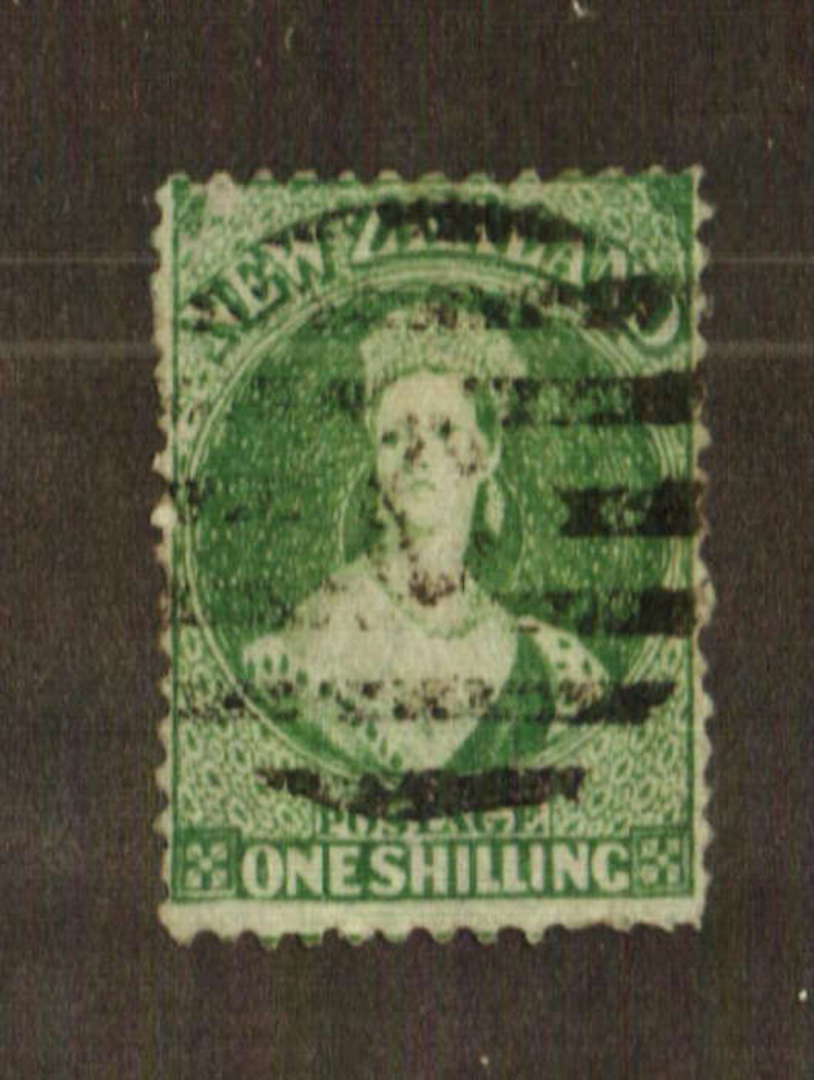 NEW ZEALAND 1862 Full Face Queen 1/- Green. Watermark Large Star. Perf 12½ at Auckland. Good perfs. Heavy postmark frames the fa image 0