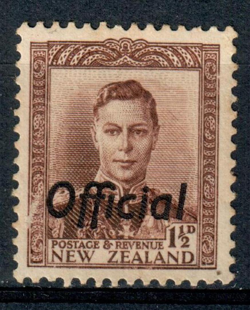 NEW ZEALAND 1938 Geo 6th Official 1½d Chocolate. - 216 - UHM image 0