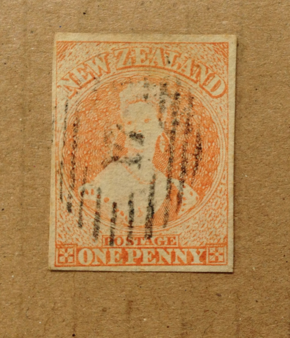 NEW ZEALAND 1855 Full Face Queen 1d Dull Orange. Imperf. No watermark. Richardson print. Four margins. Thin hard VM paper. Four image 0