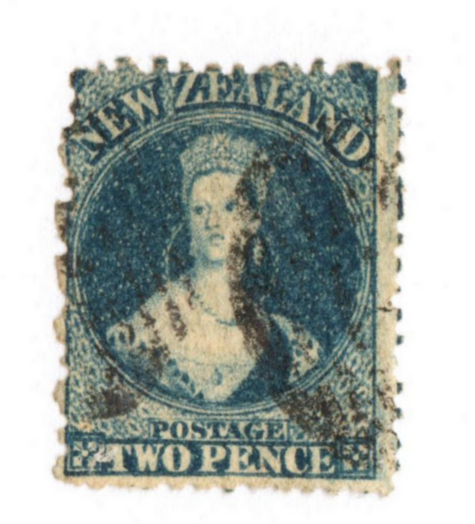 NEW ZEALAND 1862 Full Face Queen 2d Blue. - 10010 - Used image 0