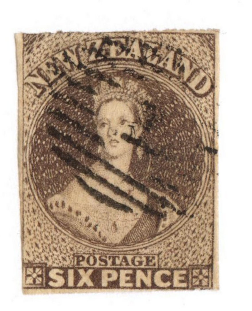 NEW ZEALAND 1862 Full Face Queen 6d Black-Brown. Pelure paper. Imperf. Nice copy touching in places. Light bars cancel frames th image 0