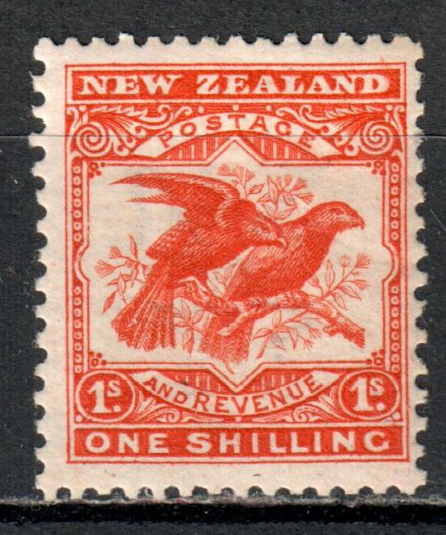 NEW ZEALAND 1898 Redrawn Pictorial 1/- Orange. - 73 - LHM image 0