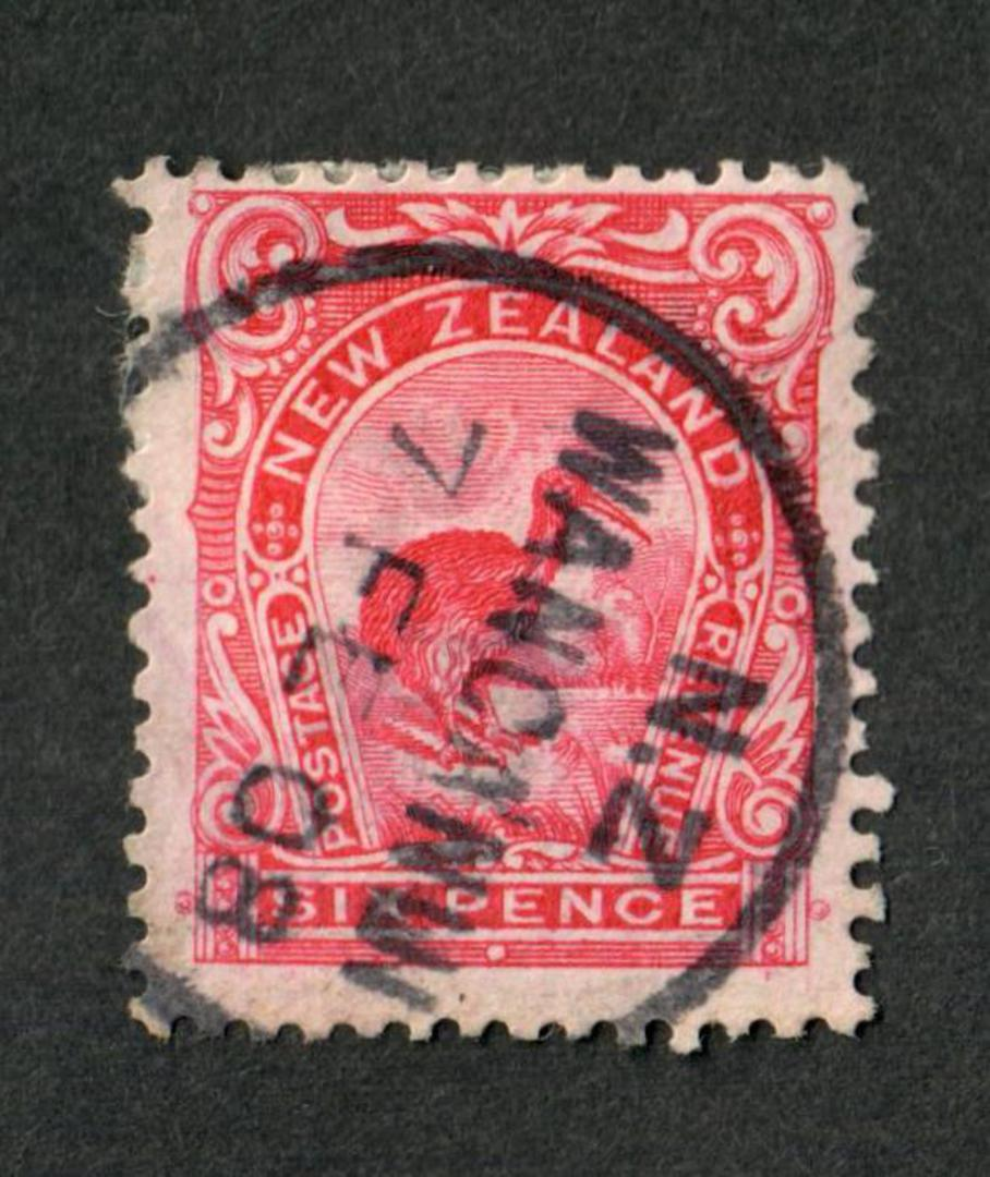 NEW ZEALAND 1898 Pictorial 6d Redrawn Carmine-Pink. Perf 14x13.1/4. Date of issue stated to be Feb 1908. This stamp is clearly p image 0