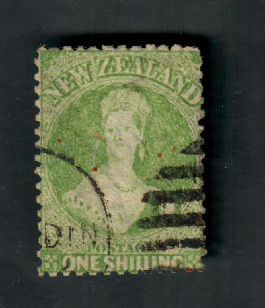 NEW ZEALAND 1862 Full Face Queen 1/- Yellow-Green. Perf 12½. Watermark Large Star. Postmark well off the face. - 39049 - Used image 0