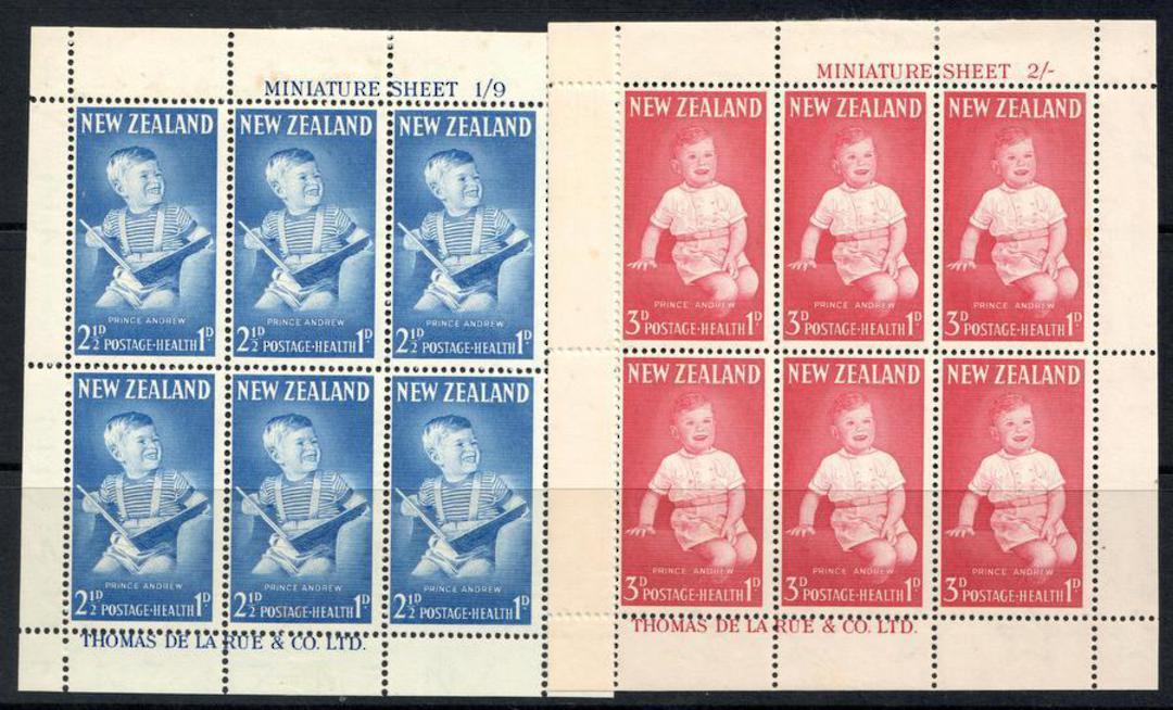 NEW ZEALAND 1963 Health miniature sheets featuring Prince Andrew - 12663 - UHM image 0