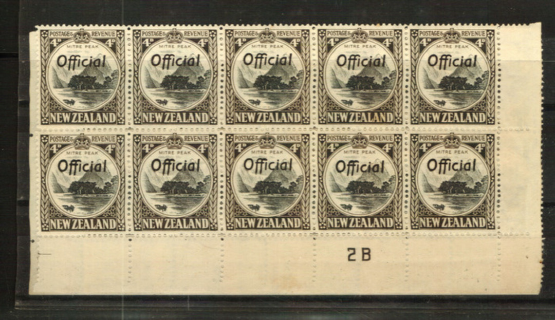 NEW ZEALAND 1935 Pictorial Official 4d Mitre Peak. Perf 14 Line. Plate 3-2B in block of 20 (unfortunately split). - 24015 - UHM image 0