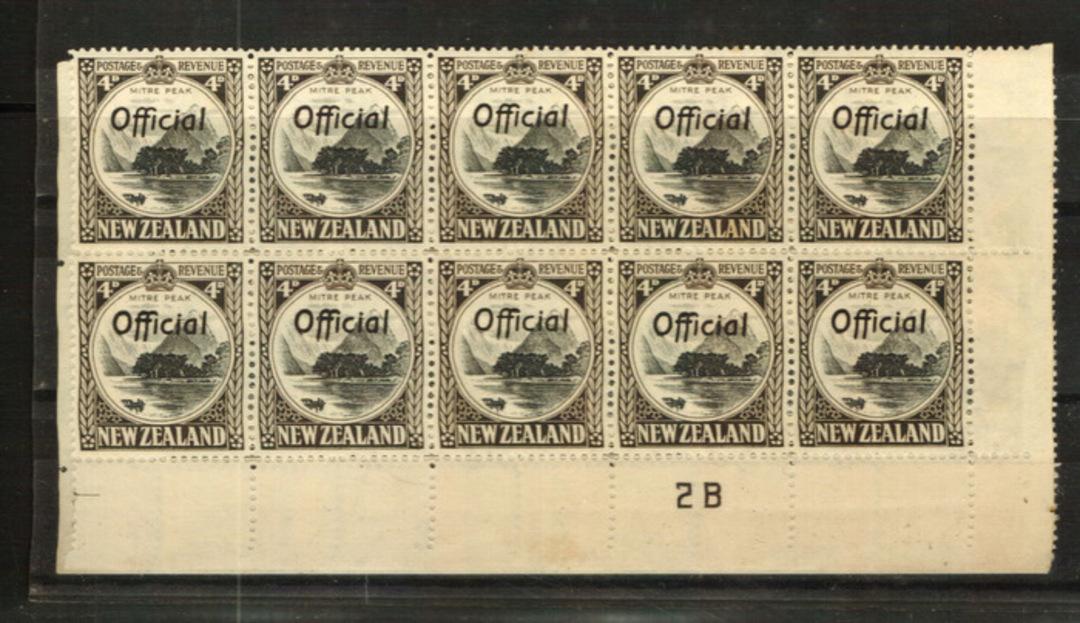 NEW ZEALAND 1935 Pictorial Official 4d Mitre Peak. Perf 14 Line. Plate 3-2B in block of 20 (unfortunately split). - 24015 - UHM image 0