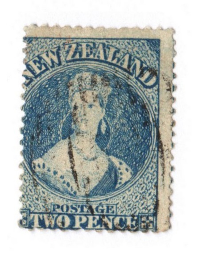 NEW ZEALAND 1862 Full Face Queen 2d Dull Deep Blue. Perf 13. no Watermark. Richardson print. Plate 2. Late printing. Re-entry. F image 0