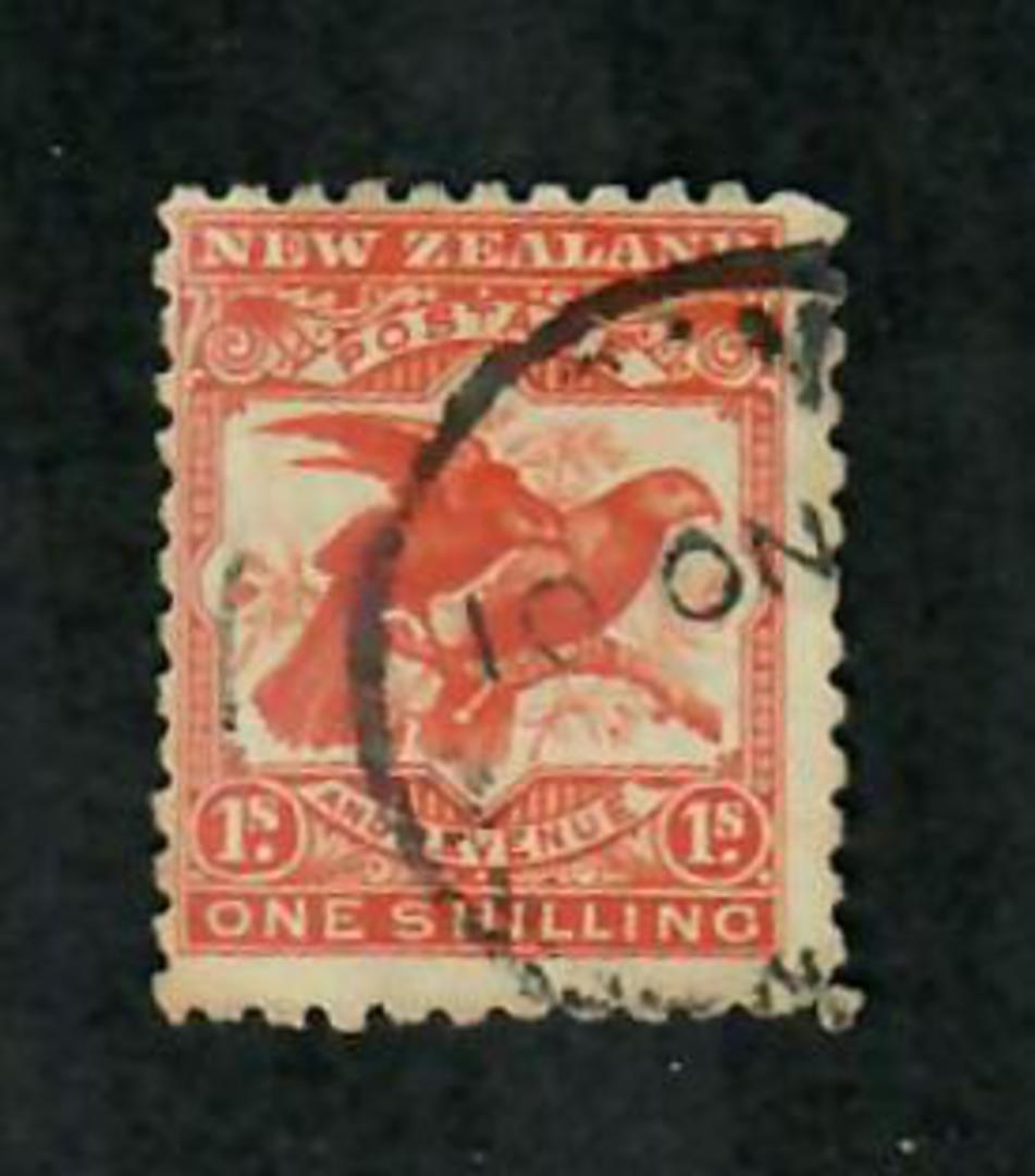 NEW ZEALAND 1898 Pictorial 1/- Kaka. First Local Print. Perf 11. No Watermark. Postmark Date 11/1901. - 74136 - Used image 0