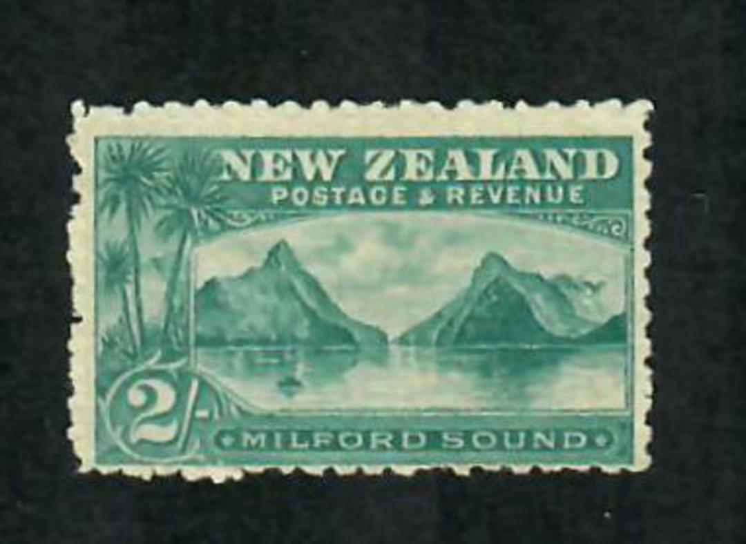 NEW ZEALAND 1898 Pictorial 2/- Blue-Green on Laid Paper. It is so clean that I thought it was never hinged. - 75017 - LHM image 0