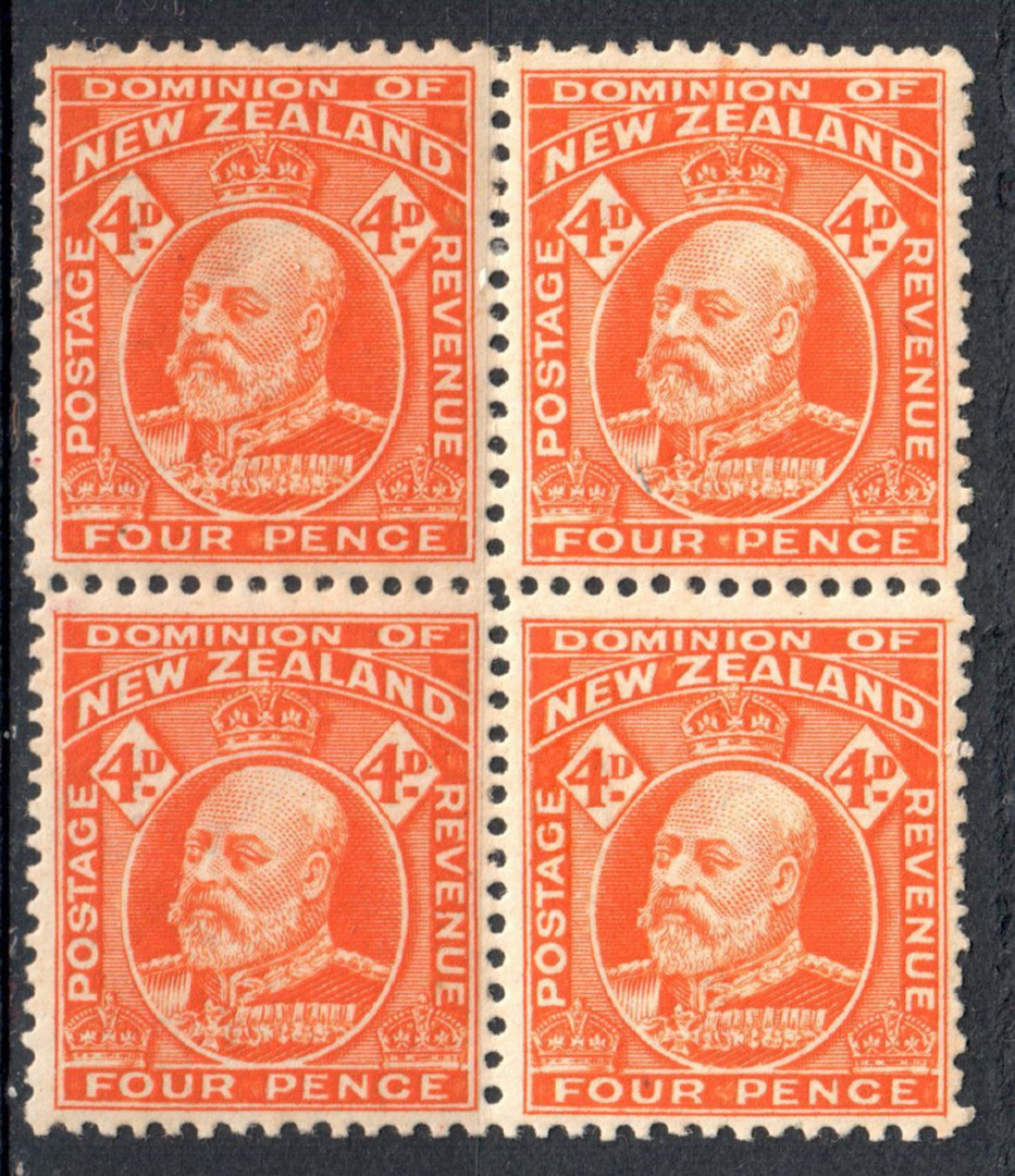 NEW ZEALAND 1909 Edward 7th 4d Red-Orange. Block of 4. 2 perf pair. THIS ITEM must be sold with a scan and my written guarantee. image 0