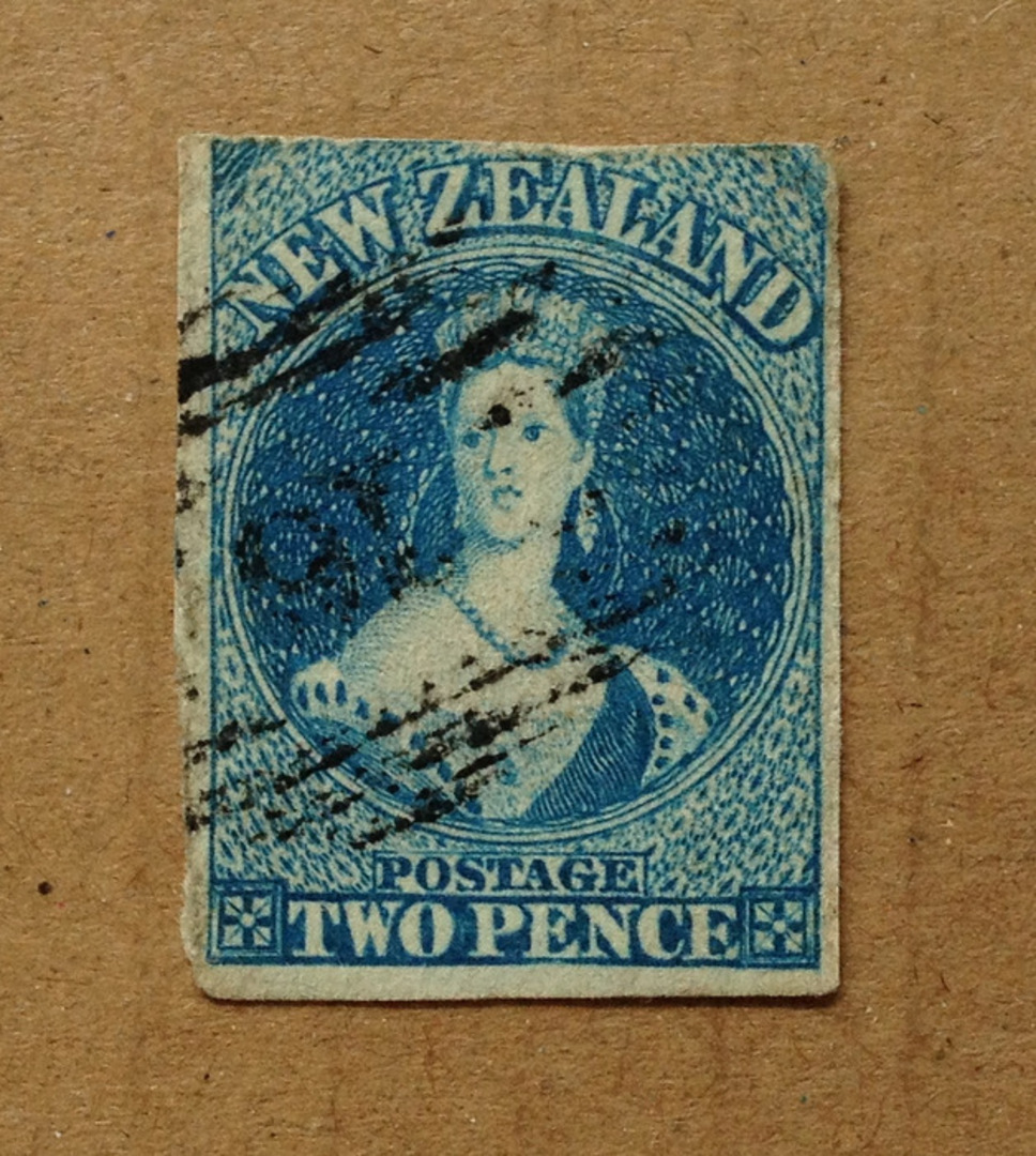 NEW ZEALAND 1855 Full Face Queen 2d Blue on white paper with no watermark. Three margins. Frame line sketchy at top. Three exper image 0