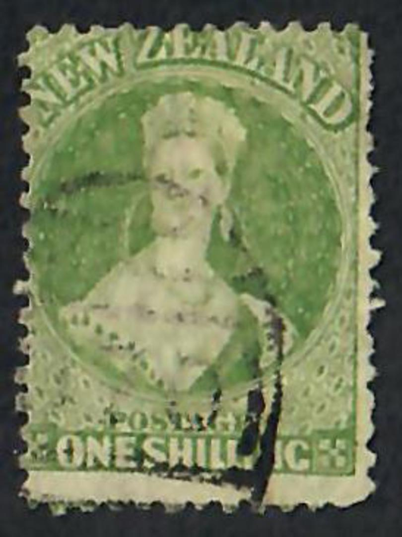 NEW ZEALAND 1862 Full Face Queen 1/- Green. Perf 12½. - 60075 - Used image 0
