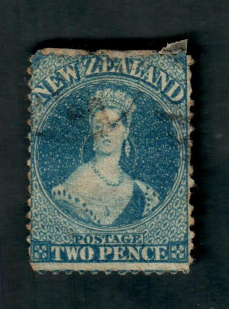 NEW ZEALAND 1862 Full Face Queen 2d Blue. Watermark Large Star. Perf 13. Small thin. Otherwise a fine copy. - 39029 - Used image 0