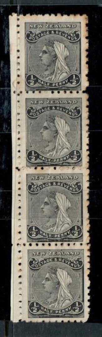 NEW ZEALAND 1882 Victoria 1st Definitive ½d Black. Vertical strip of 4. Nice multiple. - 50518 - MNG image 0