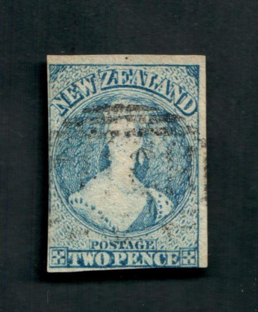 NEW ZEALAND 1855 Full Face Queen 2d Blue, worn plate. Watermark Large Star. Two clear margins. Frame lines touched on the others image 0