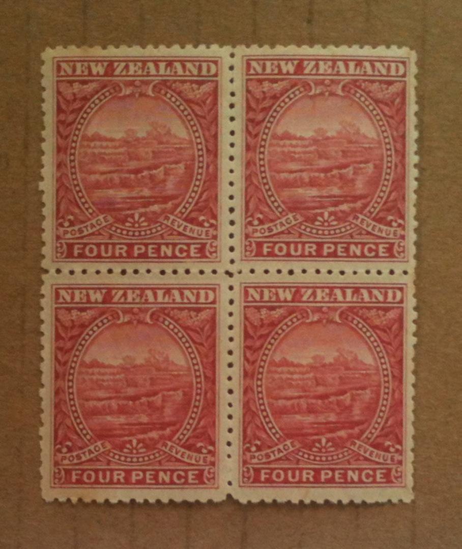 NEW ZEALAND 1898 Pictorial 4d Terraces. London Print. Block of 4. - 74127 - UHM image 0