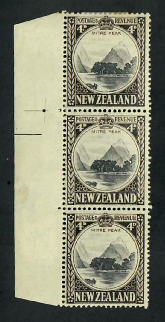 NEW ZEALAND 1935 Pictorial 4d Mitre Peak. Row 4/1 and 6/1 re entries. - 51023 - Mint image 0