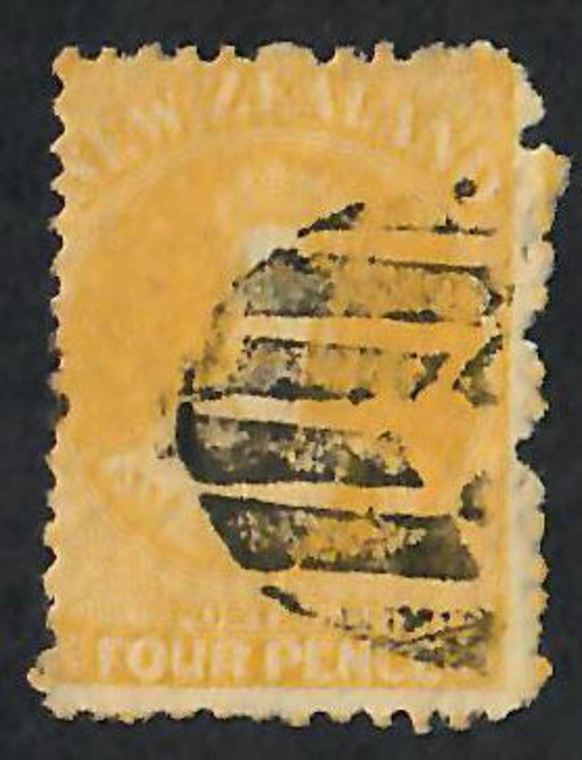 NEW ZEALAND 1862 Full Face Queen 4d Yellow. Heavy postmark. - 60046 - Used image 0