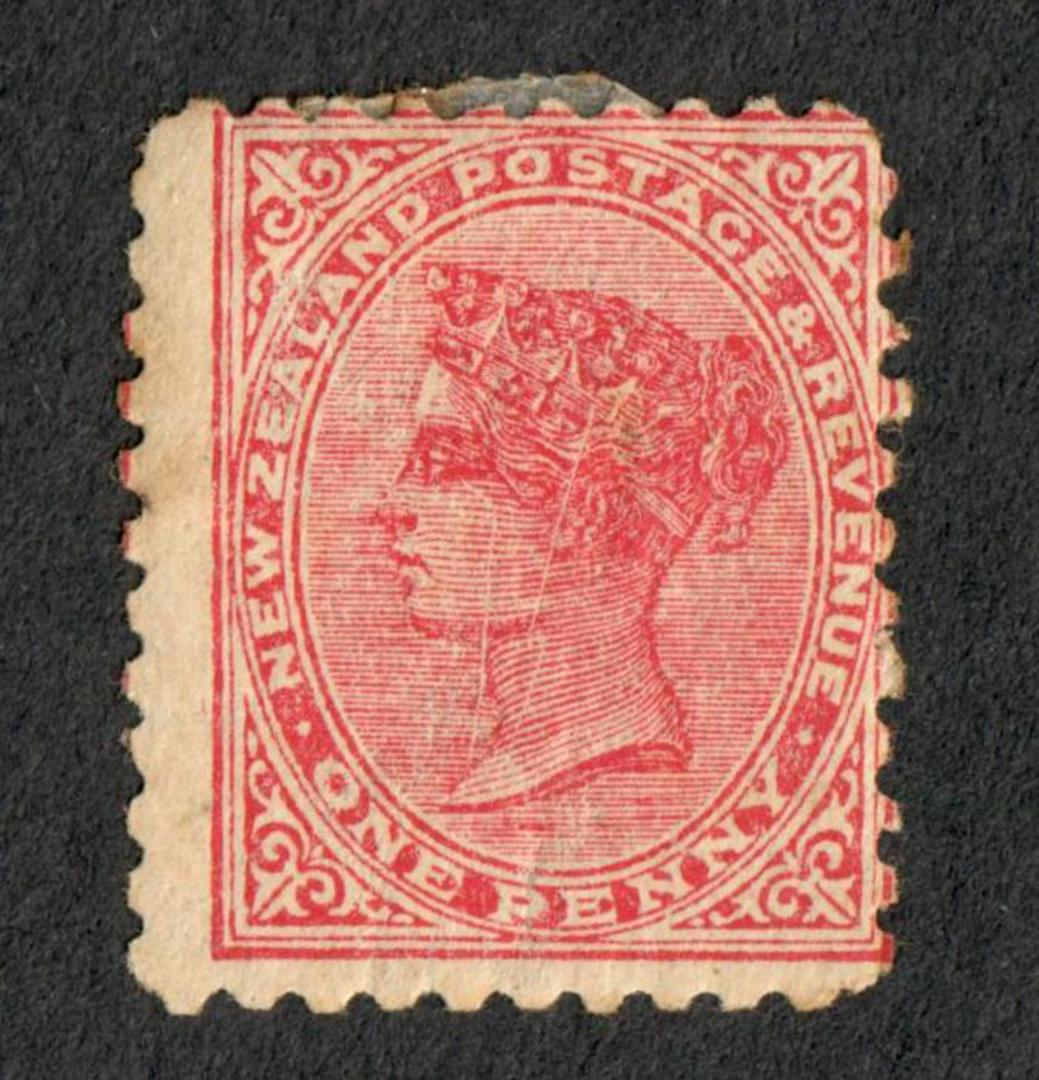 NEW ZEALAND 1882 Victoria 1st Second Sideface 1d Red Perf 10. Scratches on face. Minor variety. - 74033 - Mint image 0