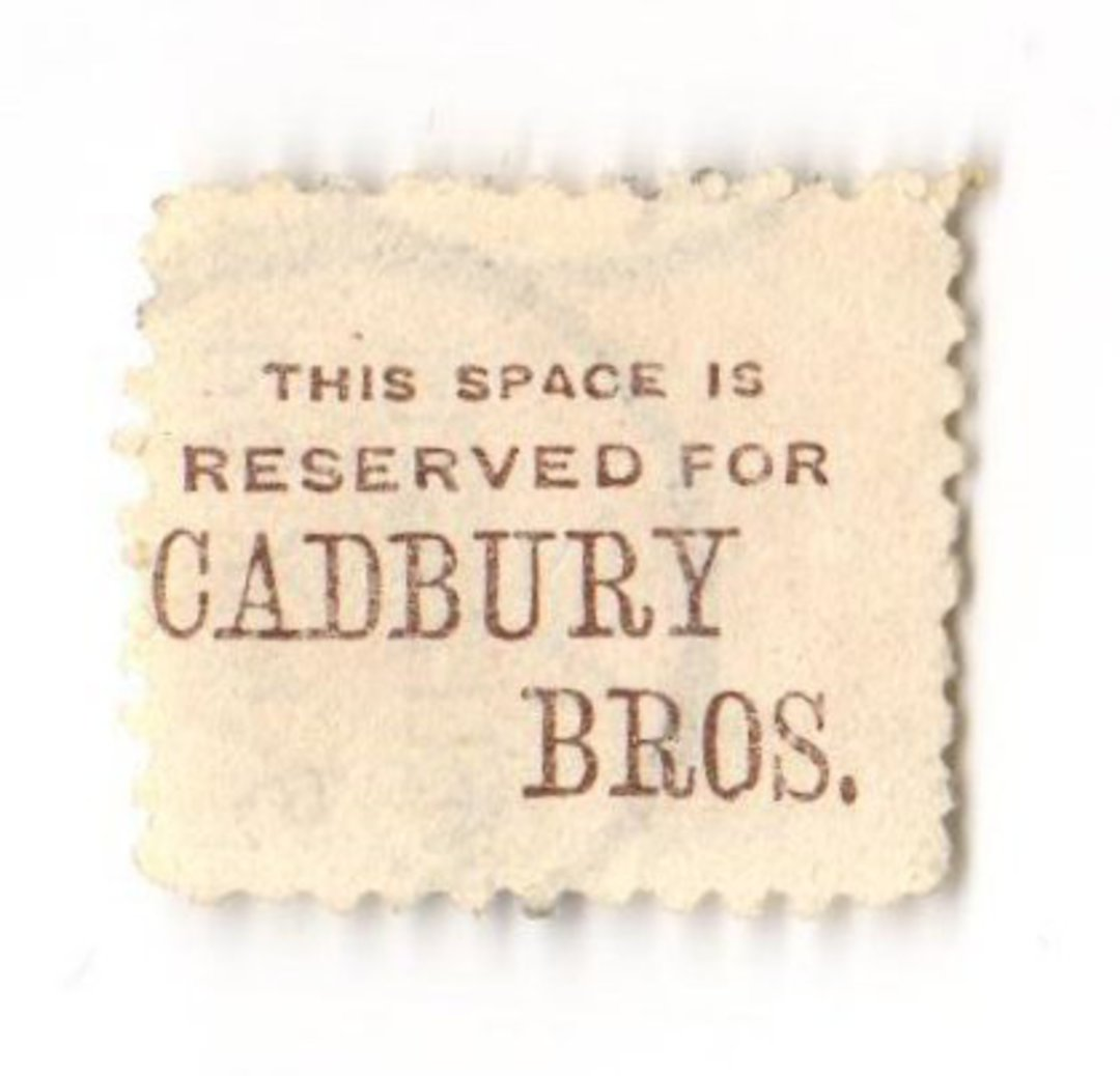 NEW ZEALAND 1882 Victoria 1st Second Sideface 3d Yellow. This space is reserved for Cadbury Bros. Perf 10. In mauve. - 3977 - FU image 0