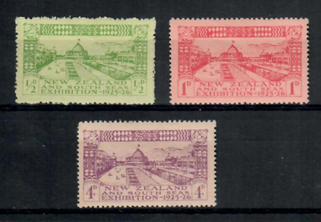 NEW ZEALAND 1925 Dunedin Exhibition. Set of 3 with hinge thin on 1d - 20117 - LHM image 0