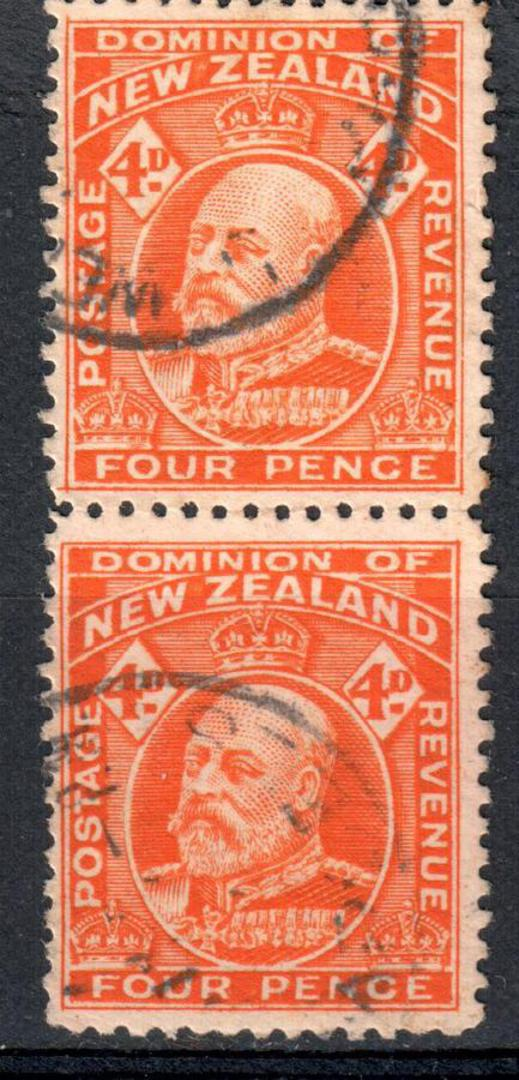 NEW ZEALAND 1909 Edward 7th Definitive 4d Red-Orange. Perf 14 Line. Vertical pair. - 75063 - FU image 0