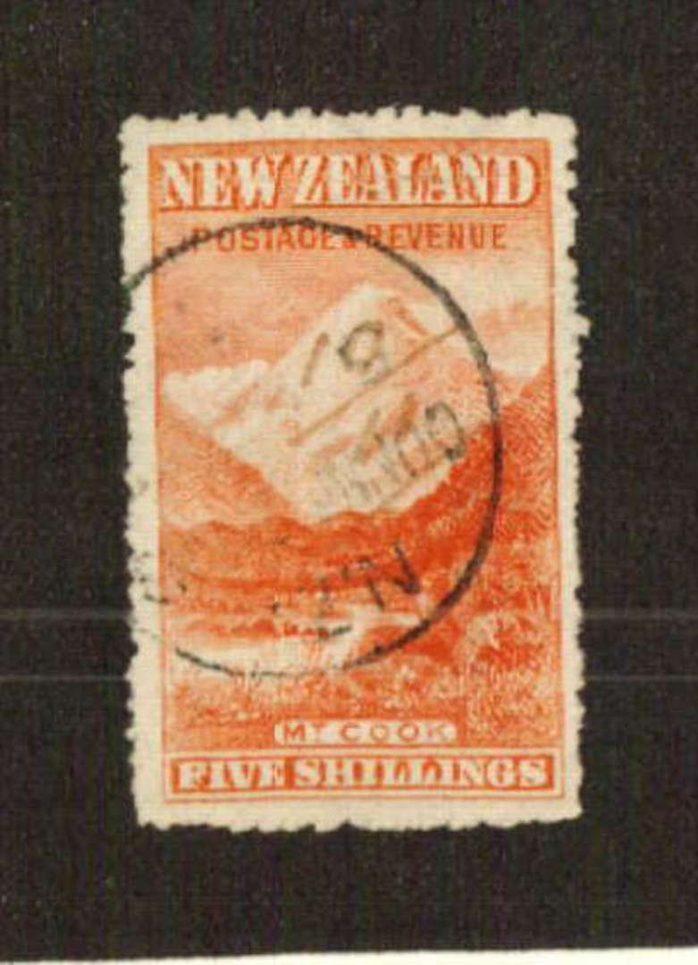 NEW ZEALAND 1898 Pictorial 5/- Mt Cook. Very attractive well cleaned fiscal. - 71378 - FU image 0
