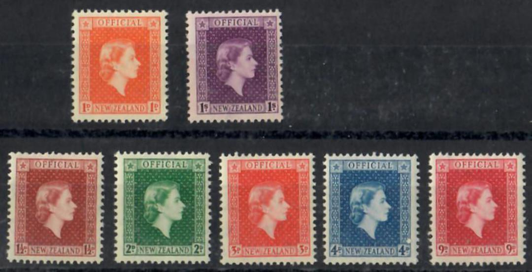 NEW ZEALAND 1954 Officials Queen Elizabeth. Original set of 7 on cream paper. - 25001 - UHM image 0