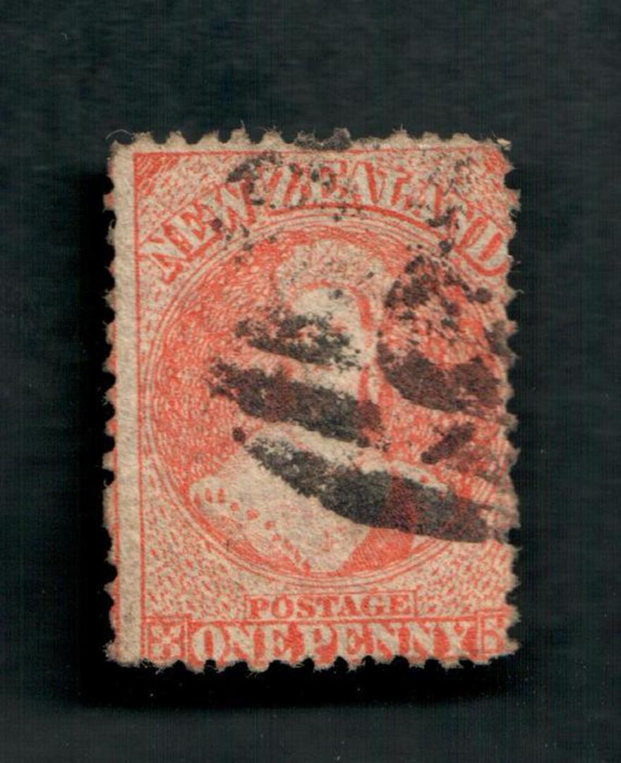 NEW ZEALAND 1862 Full Face Queen 1d Orange. Postmark across face. - 39091 - Used image 0