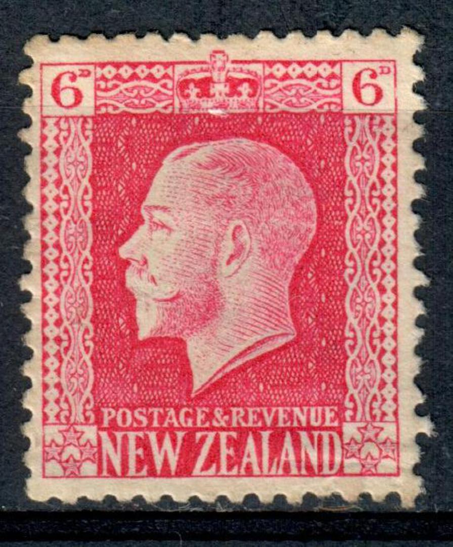 NEW ZEALAND 1915 Geo 5th Definitive 6d Carmine. Cowan paper. Perf 14x13½. Watermark 7. - 4193 - UHM image 0
