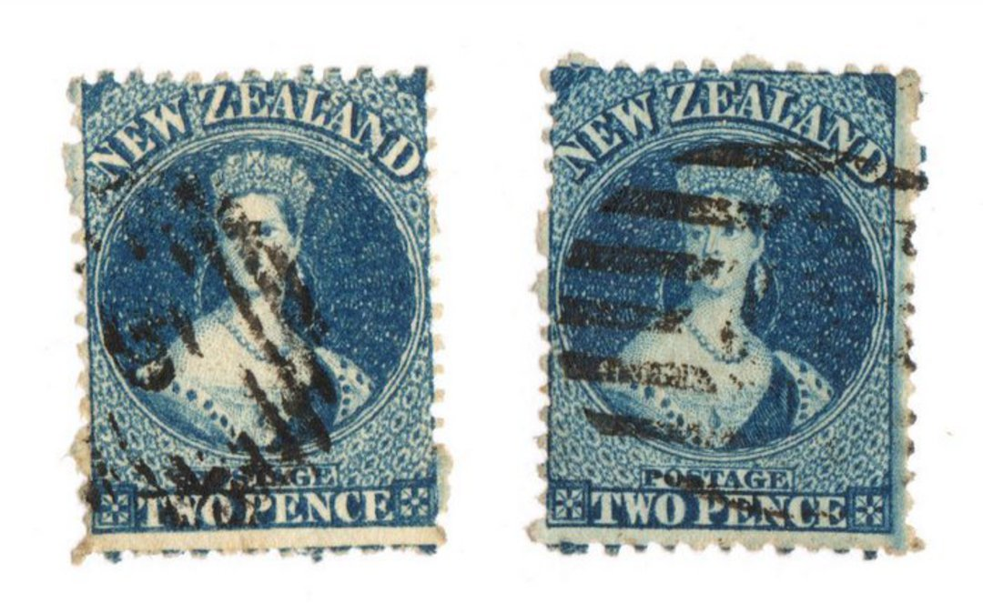 NEW ZEALAND 1862 Full Face Queen 2d Blue. Perf 12½. Watermark Large Star. Davies print. Die 2. Two stamps different shades, seem image 0